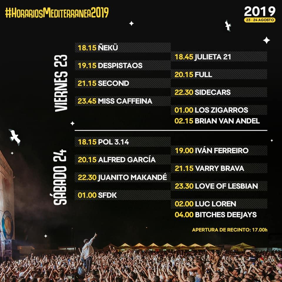Horarios Mediterránea Festival 2019