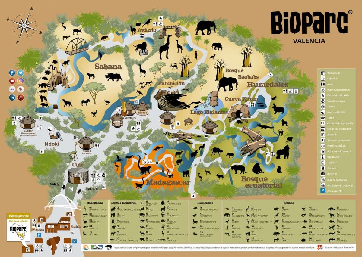 Mapa de Bioparc Valencia