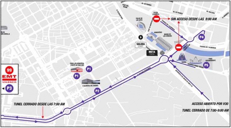 zonas aparcamiento maratón de valencia