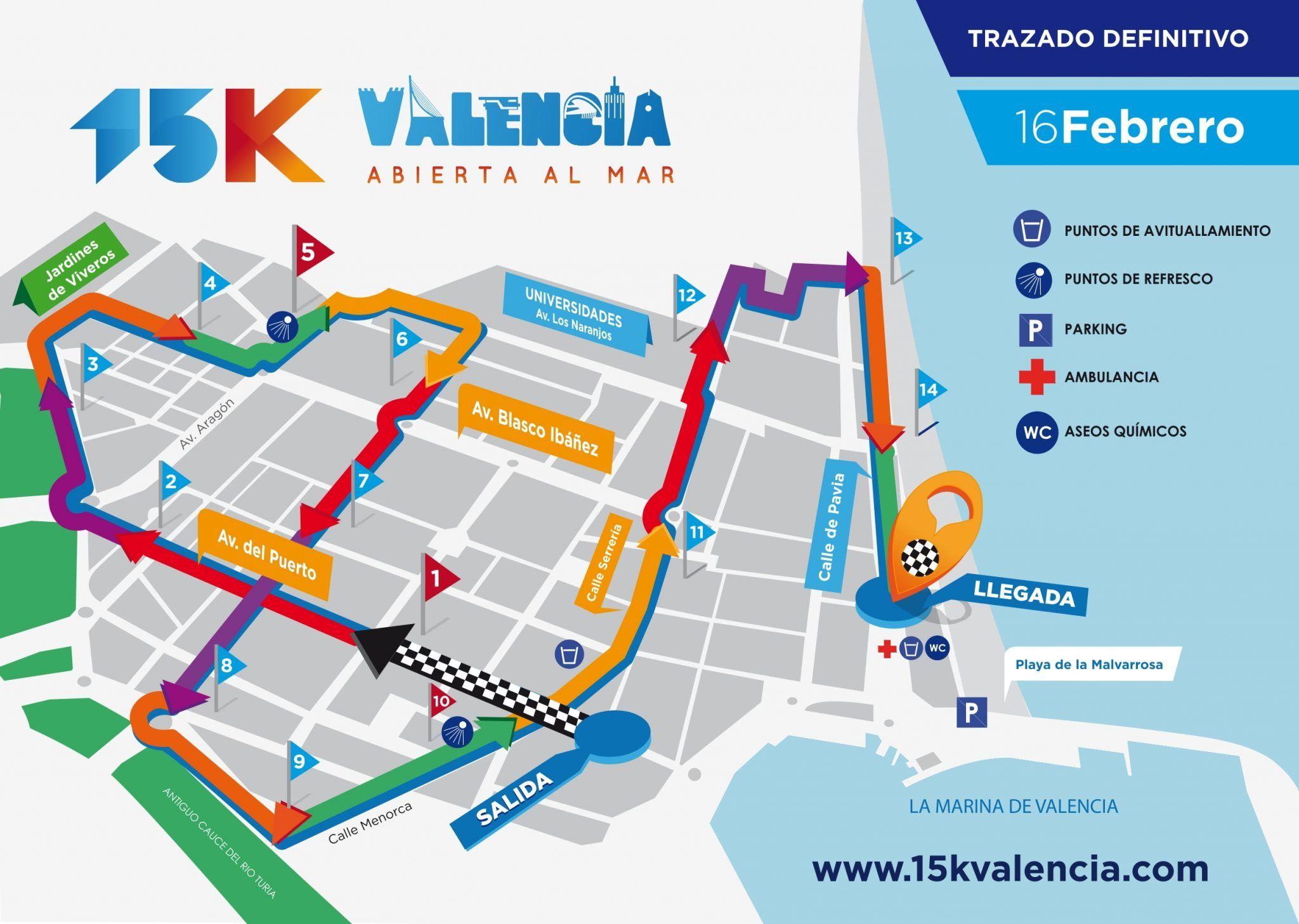 Recorrido 15K València Abierta al Mar 2020