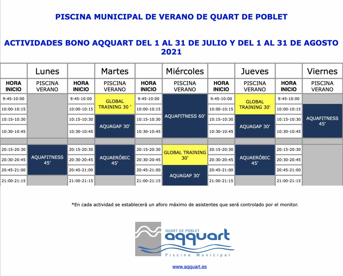 Actividades deportivas en la piscina de Quart de Poblet